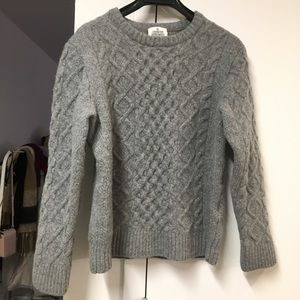 100% lamb wool cable sweater from japan